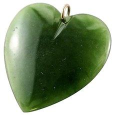 Victorian Era NZ Jade LARGE Heart Pendant New Zealand Nephrite Jade