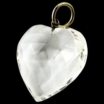 Antique Victorian Genuine Faceted Rock Crystal (Quartz) Heart Pendant Charm