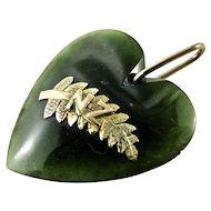 Victorian 'NZ' Gold Fern & Jade Heart Pendant New Zealand Nephrite Jade - Greenstone 'Pounamu' Green Stone - VGC