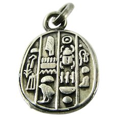 RARE French Continental 800 Silver Scarab Charm Detailed Ancient Egypt Hieroglyphics