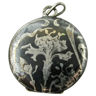 Antique Art Nouveau Niello Locket French or German Continental 800 Silver Carnation Floral Theme Victorian
