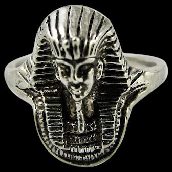 Vintage Sterling Silver Ring Pharaoh Burial Mask Ancient Egypt Tutankhamun