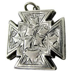Antique Sterling Silver Locket Maltese Jerusalem Cross Watch Chain Fob Large Charm