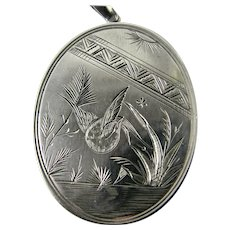 Antique 1880s 'Aesthetic Era' Sterling Silver Hand Engraved Locket Victorian Era with Bird Swallow Japanese Influence