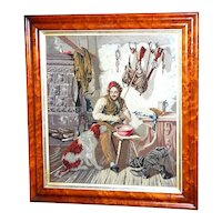 Early Victorian Woolwork Picture of a Hunter at Home, Dated 1839 (on reserve for Jean)