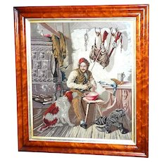 Early Victorian Woolwork Picture of a Hunter at Home, Dated 1839