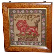 Early Victorian Woolwork Embroidery and Sampler Depicting a Lion
