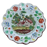 Very Early 19th Century Staffordshire Pearlware Scalloped, Hand-Painted Dish