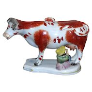 Early 19th Century Staffordshire Pearlware Cow Creamer with Milkmaid in Superb Original Condition