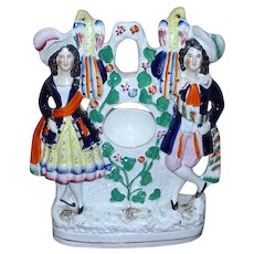 Victorian Mid-19th Century Staffordshire Figural Watch Holder