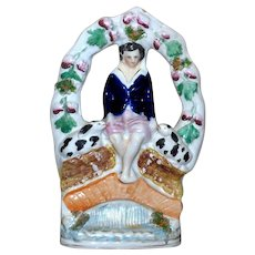 Victorian Mid-19th Century Staffordshire Child with Pet Rabbits