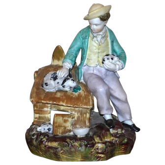 Fine Quality Mid-19th Century Victorian Staffordshire Painted Parian Ware Figure of a Boy with Pet Rabbits