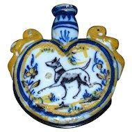 Early 19th Century Polychrome Tin Glazed Delft Faience Flask