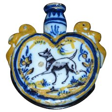 Early 19th Century Polychrome Tin Glazed Delft Faience Flask