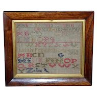 18th Century George III Silk Embroidery Alphabet Sampler, Dated 1772