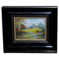 English Porcelain Plaque with Church and Grazing Sheep Painted by C. Gresley