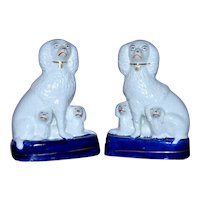 19th Century Victorian Pair of Staffordshire Poodles with Puppies