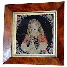 Victorian Mid-19th Century Pettipoint Wool Embroidery of a Child with Her Pet King Charles Spaniel