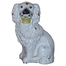 Victorian 19th Century Staffordshire Spaniel with Basket of Flowers