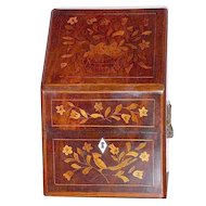 19th Century Dutch Floral Marquetry Stationary Box
