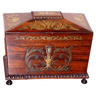 Early 19th Century Regency Rosewood and Brass Inlaid Tea Caddy