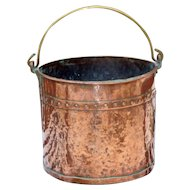 19th Century Victorian Large Hand-Hammered Copper Jardinière or Log Bin