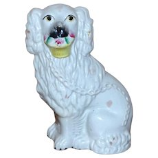 19th Century Victorian Staffordshire Spaniel with Flower Basket