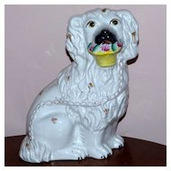 Large 19th Century Victorian Staffordshire Spaniel with Flower Basket