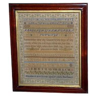 Victorian 19th Century Silkwork Sampler with Alphabet and Numbers