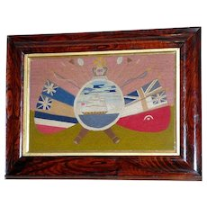 Victorian Woolwork Sailor's Picture of British Naval Ship Surrounded by Oars and Flags