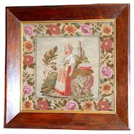 19th Century Victorian Woolwork Embroidery of a Young Lady Surrounded by a Large Flowered Border