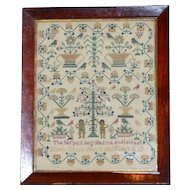 19th Century Victorian Silkwork Adam and Eve Sampler Dated 1853