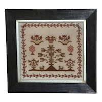 Early Victorian Silk Embroidered Small-Scale Motif Sampler