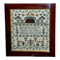 Victorian Mid-19th Century Silkwork Courting Sampler Dated 1854