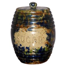"Victorian 19th Century Scottish Pottery ""Sugar"" Storage Jar"
