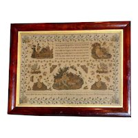 Large and Impressive Early Victorian Silkwork Pettipoint Sampler Dated 1839