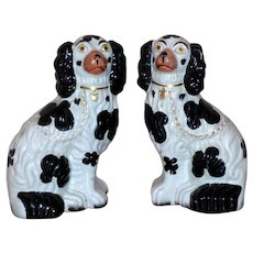 Pair of Black and White Staffordshire Spaniel Dogs Circa 1850