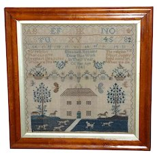 Early Victorian 19th Century Silkwork Sampler with House and Hunting Dogs Dated 1841