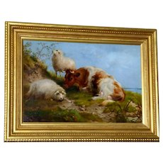 Cow and Sheep by an Estuary, by Thomas G. Cooper
