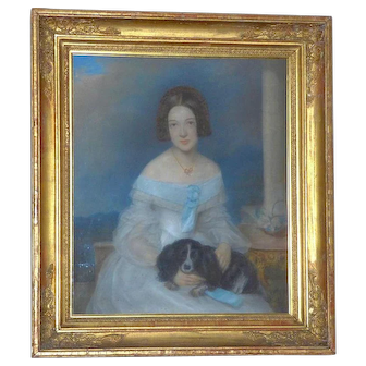 Early Victorian 19th Century Romantic Portrait of a Young Lady Seated with Her King Charles Spaniel Dog