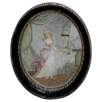 Rare Late 18th Century Georgian Wool Embroidery Depicting a Young Lady and Bird Cage