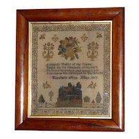 Victorian 19th Century Sampler with House and Flowers Dated 1853