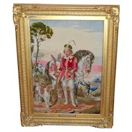 """Large and Impressive Needlework Picture Entitled """"The Hunting Squire"""" Dated 1870 in Original Frame"""