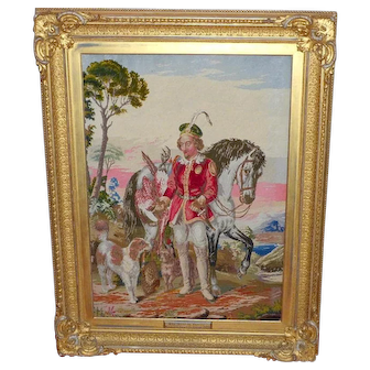 "Large and Impressive Needlework Picture Entitled ""The Hunting Squire"" Dated 1870 in Original Frame"