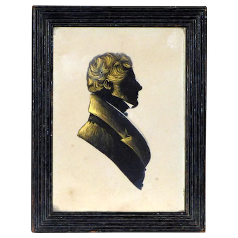 Early 19th Century Regency Hand-Cut Silhouette of a Gentleman in Original Reeded Frame