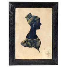 Early 19th Century Regency Hand-Cut Silhouette of a Lady in Original Reeded Frame