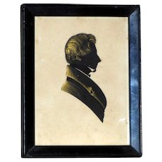 Early 19th Century Regency Hand-Cut Silhouette of a Gentleman with Bronze Details