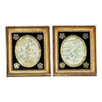 Pair of Early 19th Century Silkwork Flower Pictures in Original Eglomise Mounts and Frames