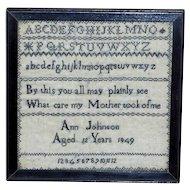 Mid-19th Century Victorian Monochrome Alphabet and Motto Sampler