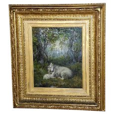 Victorian 19th Century Painting of a Ewe and Her Lamb in a Woodland Clearing
